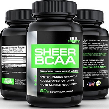 Sheer Strength Labs SHEER BCAA Capsules - #1 Best Branched Chain Amino Acids Supplement Builds Muscle and Burns Fat Fast