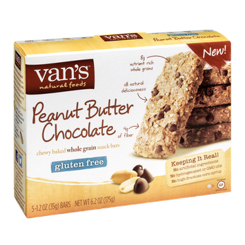 Van's Natural Foods Chewy Baked Whole Grain Snack Bars Peanut Butter Chocolate - 5 CT