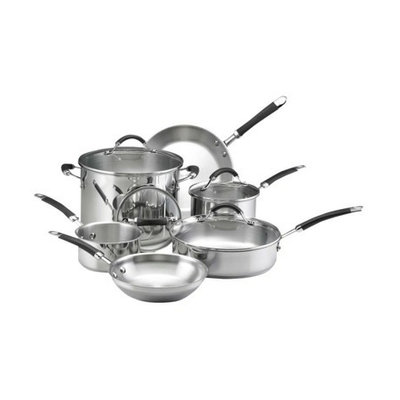 KitchenAid 10 Piece Classic Stainless Steel Set with Black Silicone