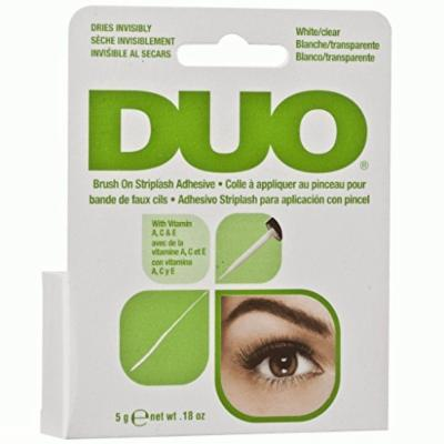 DUO BRUSH ON Striplash Adhesive Eyelash Glue with Vitamins White Clear Invisible 0.18 oz (5 g)