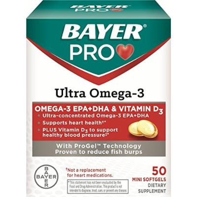 Bayer Pro Ultra Omega-3 Soft Gels, 50 Count (3 Pack)