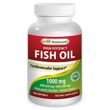 Best Naturals High Potency Omega-3 fish Oil 1000 mg 180 Softgles