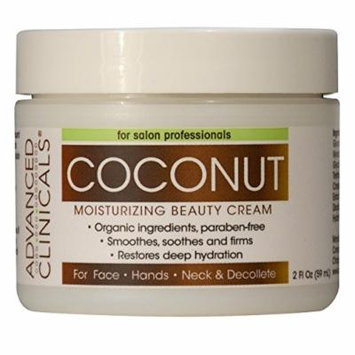 Advanced Clinicals Moisturizing Coconut Cream. Great Use As Body Lotion or Facial Moisturizer! Travel Size 2oz. ...