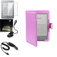Insten INSTEN Purple Leather Case+Screen Protector+light+Car Charger For Amazon Kindle 4 5 th