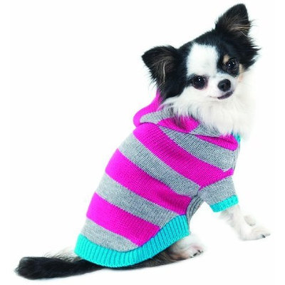 Fashion Pet Lookin Good Collegiate Striped Hoodie Sweater for Dogs, Medium, Pink