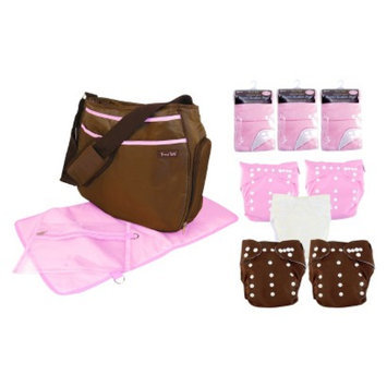Trend Lab 19 Pc. Cloth Diaper Starter Pack - Pink and Brown by Lab
