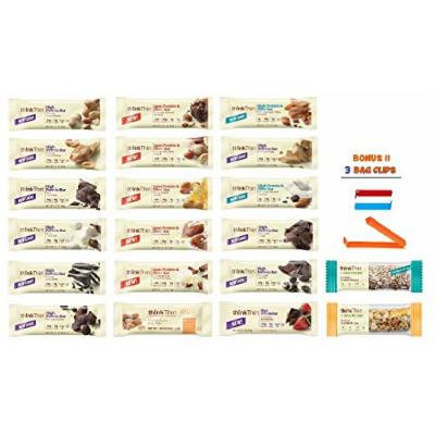 Think Thin Protein Bar, All Flavors Variety Pack, 1 of Each (Pack of 20), BONUS !! 3 BAG CLIPS FREE