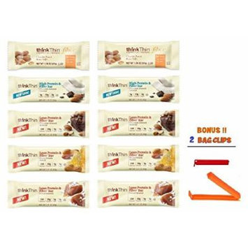 Think Thin Bar, Fiber Lovers Variety Pack, 2 of Each (Pack of 10), BONUS !! 2 BAG CLIPS FREE