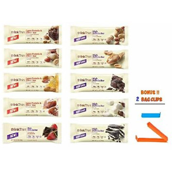 Think Thin Protein Bar, Best Flavors Variety Pack, 1 of Each (Pack of 10), BONUS !! 2 BAG CLIPS FREE
