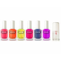 Color Club Poptastic Collection Nail Polish Set of 6 + Etude House Play Nail Care Long Shine Top Coat 8ml 0.27 fl oz ...