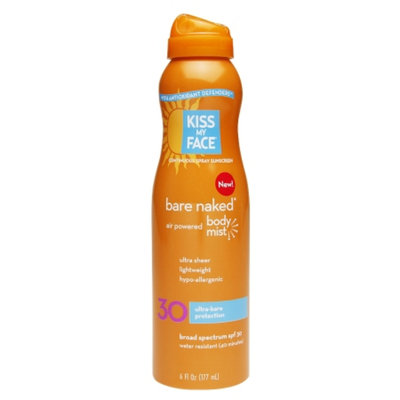 Kiss My Face Continuous Spray Sunscreen Bare Naked Body Mist SPF 30