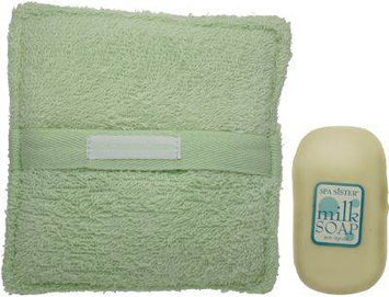 Spa Sister Terry Bath Sponge with Milk Soap Green
