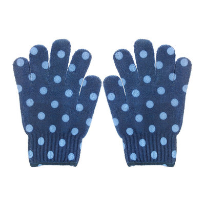 Spa Sister Bathing Gloves Navy with Blue Dots