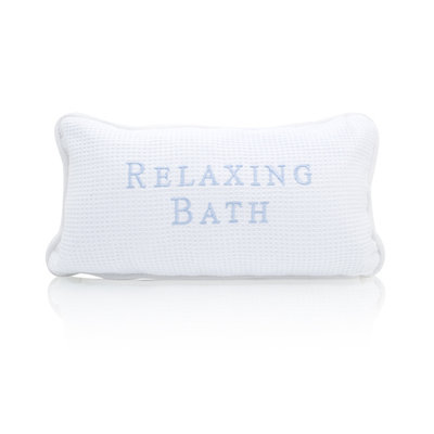 Spa Sister Relaxing Waffle Weave Embroidered Bath Pillow