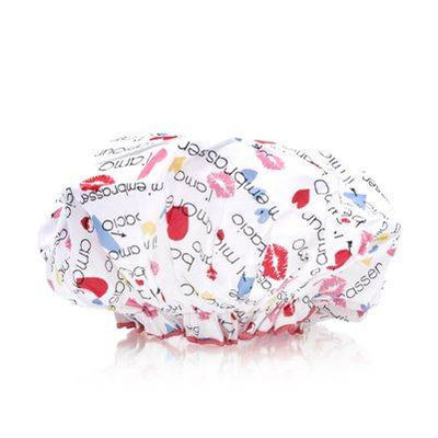 Spa Sister Bouffant Shower Cap, Hearts & Kisses