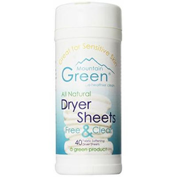 Mountain Green Free and Clear Dryer Sheets, Free and Clear, 6 Count (Pack of 6)