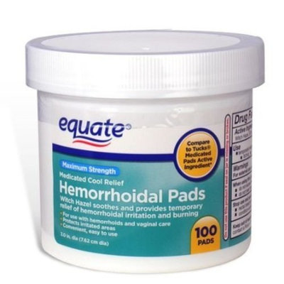 Equate - Hygienic Cleansing Pads, Hemorrhoidal Vaginal Medicated Pads, 100 Pads