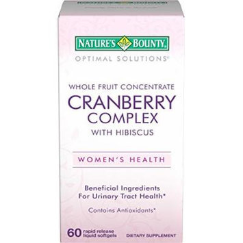 Nature's Bounty Optimal Solutions Cranberry with Hibiscus, 60 Softgels