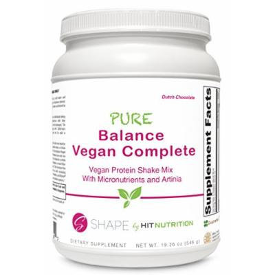 HIT Shape, Pure Balance Vegan Complete, Vegan Protein with a full serving of Daily Vitamins, Dutch Chocolate, 560 Gram