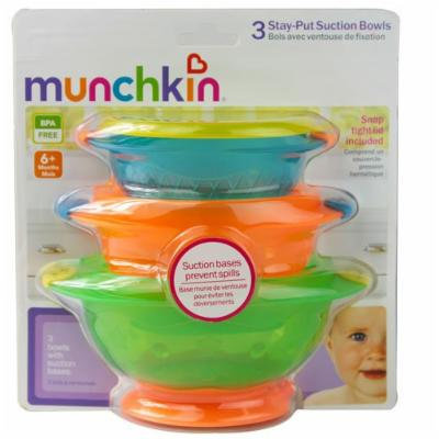 Munchkin Stay-put Suction Bowls -- 3 Bowls