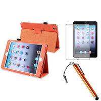 Insten iPad Mini 3/2/1 Case, by INSTEN Orange PU Leather Folio Case Sleep Wake For Apple iPad Mini 1st 2nd 3rd+Matte Guard/Pen