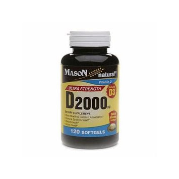 Mason Natural Vitamin D3, 2000 IU, Softgels 120 ea