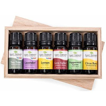 Spring Cleaning Wooden Box Gift Set Contains: Tea Tree, Lavender, Lemon, Citrus Burst, Germ Fighter and Peppermint- 10 ml each