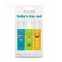 Acure Organics All Natural Baby's Day Out Ointment Set 3 Pack With Natural Sunblock SPF 30 Stick, Baby Fix-It Healing Ointment Balm, and Citronella Baby Bug Spray Stick With Beeswax, Castor and Carnauba