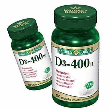 (2 Pack) Nature's Bounty Vitamin D3, 400IU, 100 Tablets ea.