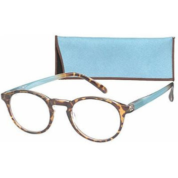 Round Retro Lightweight Women's Reading Glasses with Soft Case By ICU (2.00, Teal)