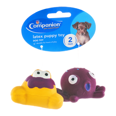 Companion Latex Puppy Toy with Squeaker - 2 CT