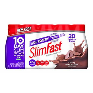 SlimFast Ready to Drink Bottles, High Protein Creamy Milk Chocolate Meal Replacement Shake, 11-Ounces, 20 Count