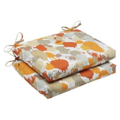 Pillow Perfect Outdoor 2-Piece Square Edge Seat Cushion Set - Orange/Tan Neddick