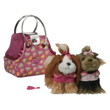 Branford Pucci Pups Pink Hearts Plush Bag and Twins