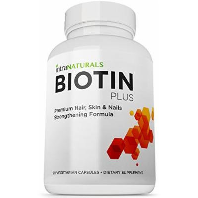 BEST Biotin Formula , Biotin Plus from IntraNaturals ,90 Vegetarian Capsules , Advanced Hair, Skin, & Nails Complex Containing 5,000mcg of Biotin + Vitamins C, E, B3, B6, and B12 - Non-GMO - Lifetime Guarantee