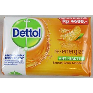 Dettol Anti-Bacterial Bar Soap, Re-Energize, 110 Gr / 3.9 Oz (Pack of 12)