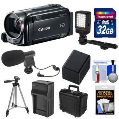 Canon Vixia HF R52 32GB 1080p HD Wi-Fi Digital Video Camcorder with 32GB Card + Battery & Charger + Waterpoof Case + LED Light + Mic + Tripod Kit