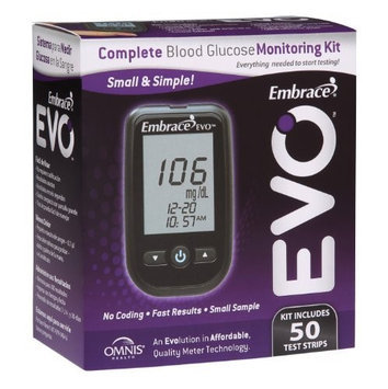 Omnis Health APX01AB0851 Embrace EVO Blood Glucose Meter All-in-One Starter Kit