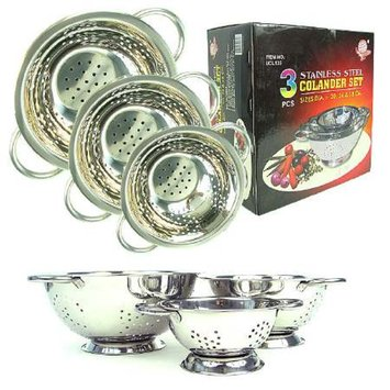 Chef Buddy Colander Set - 3 pc Stainless Steel Strainer Set