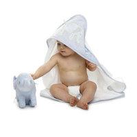 Mud Pie Baby Little Prince Seersucker Hooded Towel with Elephant Appliqué