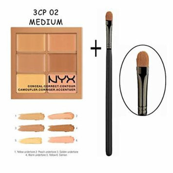 NYX 3CP Conceal, Correct, Contour Palette with Pro Brush (3CP02 Medium)