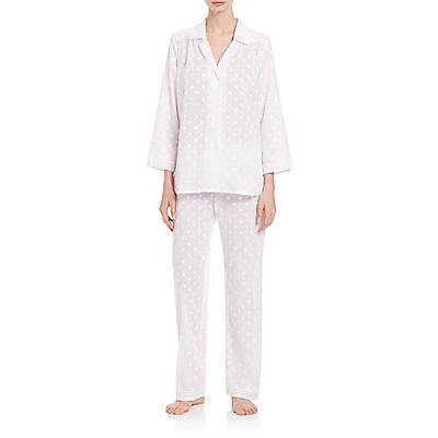 Oscar de la Renta Sleepwear Dot Cotton Pajamas - White