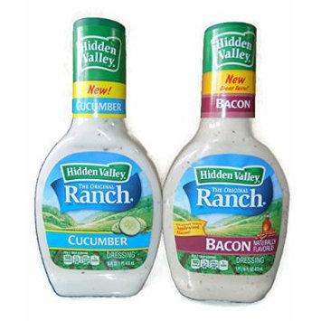 Hidden Valley Ranch Salad Dressing 2 Pack Bundle: (1) Bacon, (1) Cucumber, 16 Oz. Each (2 Bottles Total)