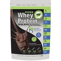 Non-GMO Pure Whey Protein Isolate: 1 lb - Dutch Chocolate - Instanized to Easy Mixing: Lactose Free: Kosher Certified: Naturally Flavored: Sweetened by Stevia: Gluten Free: Highest BCAAs and Glutamines: Zero Fat, Cholesterol, Carbohydrates, Fillers and...