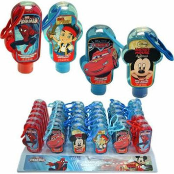 Disney Hand Sanitizer 2 Oz with Backpack Clip 36 pcs- Mickey, Spiderman, Cars, Jake (approx 9 pcs each)