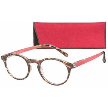 Round Retro Lightweight Women's Reading Glasses with Soft Case By ICU (2.50, Pomegranate)