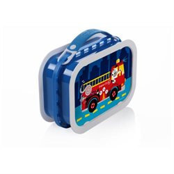 Yubo Deluxe Lunchbox with Fire Truck Dog Design in Blue