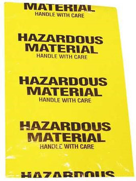 SELLSTROM 68180 Hazardous Waste Bag, Yellow,18 In. L,PK15