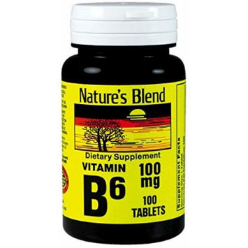 Nature's Blend Vitamin B-6 100mg Tablets 100 Count (2 Pack)