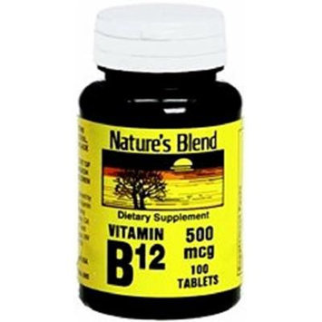 Nature's Blend Vitamin B-12, 500 mcg, Tablet, 100 Count (2 Pack)